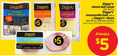 Ziggy's Sliced Deli Meat 250-300 g - Ziggy's Mozzarella Ball 340 g Or Ziggy's Slices 200-220 g