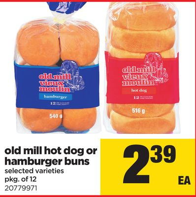 Old Mill Hot Dog Or Hamburger Buns - Pkg Of 12