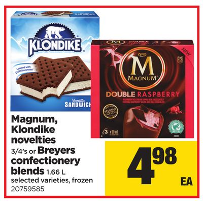 Magnum - Klondike Novelties 3/4's or Breyers Confectionery Blends 1.66 L
