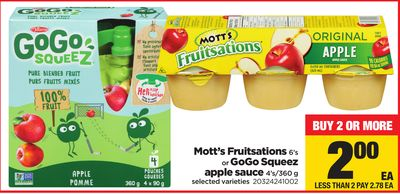 Mott's Fruitsations - 6's Or Gogo Squeez Apple Sauce - 4's/360 G