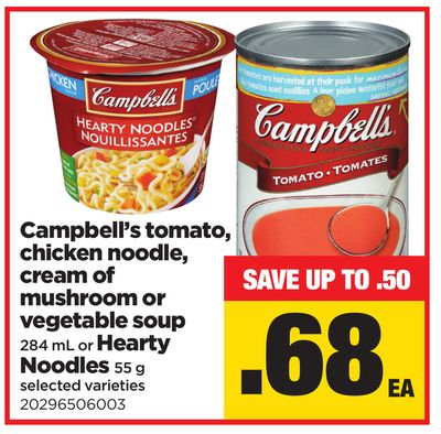 Campbell's Tomato - Chicken Noodle - Cream Of Mushroom Or Vegetable Soup - 284 mL or Hearty Noodles - 55 g