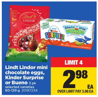 Lindt Lindor Mini Chocolate Eggs - Kinder Surprise Or Bueno - 3 Pk - 60-129 g