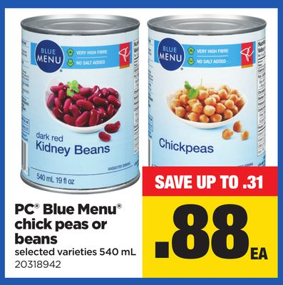 PC Blue Menu Chick Peas Or Beans - 540 mL