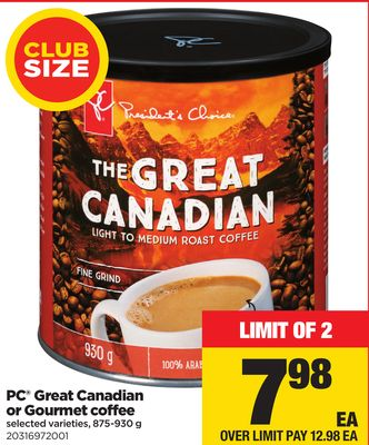 PC Great Canadian Or Gourmet Coffee - 875-930 g