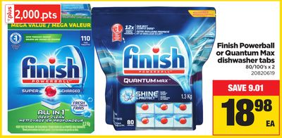 Finish Powerball Or Quantum Max Dishwasher Tabs - 80/100's X 2