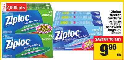 Ziploc Freezer Medium or Large 3 X 38's or Sandwich Bags 90's