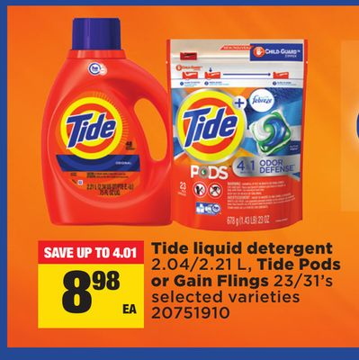 Tide Liquid Detergent 2.04/2.21 L - Tide PODS or Gain Flings 23/31's