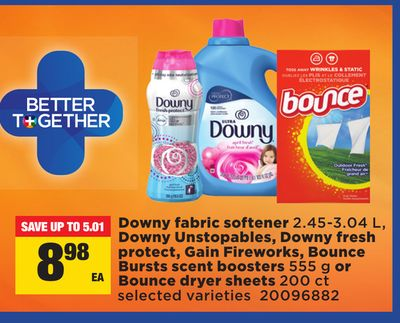 Downy Fabric Softener - 2.45-3.04 L - Downy Unstopables - Downy Fresh Protect - Gain Fireworks - Bounce Bursts Scent Boosters - 555 g or Bounce Dryer Sheets - 200 Ct
