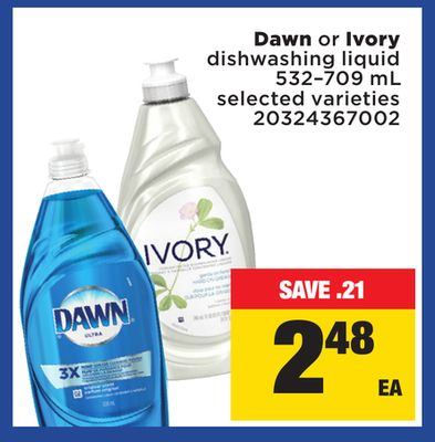 Dawn Or Ivory Dishwashing Liquid - 532–709 mL