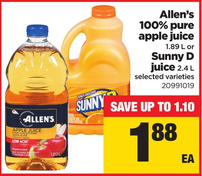 Allen's 100% Pure Apple Juice - 1.89 L Or Sunny D Juice - 2.4 L