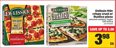 Delissio Thin Crispy Crust Or Rustico Pizza - 340-630 g