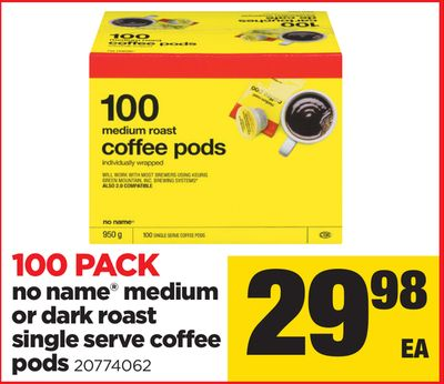 No Name Medium Or Dark Roast Single Serve Coffee PODS - 100 Pack