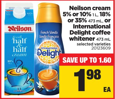 Neilson Cream 5% or 10% 1 L - 18% or 35% 473 mL - or International Delight Coffee Whitener 473 mL