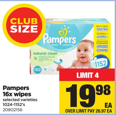 Pampers 16x Wipes - 1024-1152's