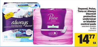 Depend - Poise - Tena Or Always Discreet Protective Underwear Or Bladder Control Pads - 10-66's