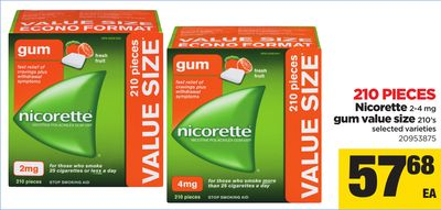 Nicorette 2-4 Mg GUM Value Size - 210 Pieces