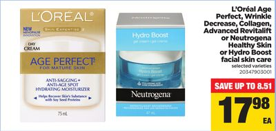 L'oréal Age Perfect - Wrinkle Decrease - Collagen - Advanced Revitalift Or Neutrogena Healthy Skin Or Hydro Boost Facial Skin Care
