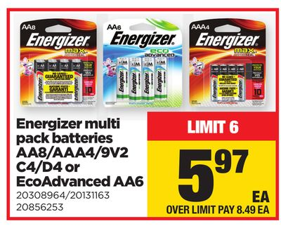 Energizer Multi Pack Batteries Aa8/aaa4/9v2 C4/d4 Or Ecoadvanced Aa6
