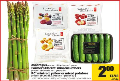 Asparagus - Farmer's Market Mini Cucumbers - PC Mini Red - Yellow Or Mixed Potatoes
