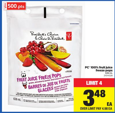 PC 100% Fruit Juice Freeze Pops - 636 mL