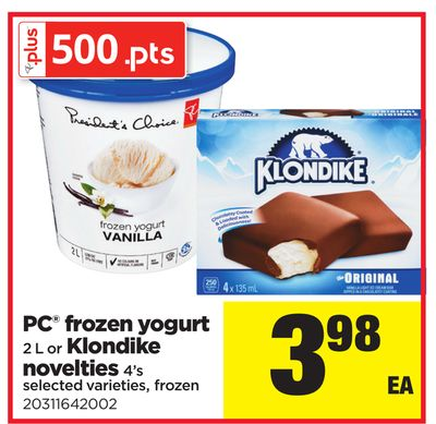 PC Frozen Yogurt - 2 L or Klondike Novelties - 4's