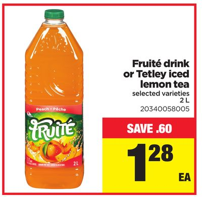 Fruité Drink or Tetley Iced Lemon Tea - 2 L