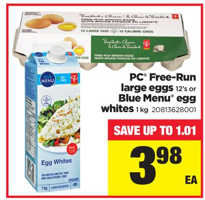 PC Free-run Large Eggs - 12's Or Blue Menu Egg Whites - 1 Kg