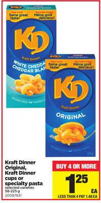 Kraft Dinner Original - Kraft Dinner Cups or Specialty Pasta - 58-225 g
