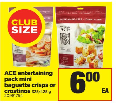 Ace Entertaining Pack Mini Baguette Crisps or Crostinos - 325/425 g