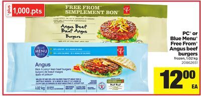 PC Or Blue Menu Free From Angus Beef Burgers - 1.02 Kg