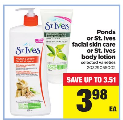 Ponds Or St. Ives Facial Skin Care Or St. Ives Body Lotion