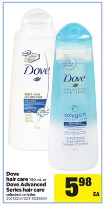 Dove Hair Care - 750 mL Or Dove Advanced Series Hair Care
