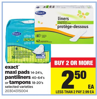 Exact Maxi Pads - 14-24's - Pantiliners - 40-64's Or Tampons - 18-20's