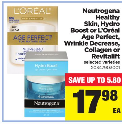 Neutrogena Healthy Skin - Hydro Boost Or L'oréal Age Perfect - Wrinkle Decrease - Collagen or Revitalift