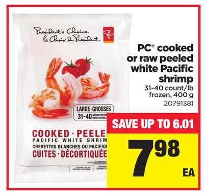 PC Cooked Or Raw Peeled White Pacific Shrimp - 31-40 Count/lb - 400 g