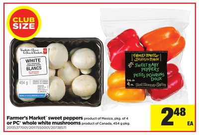 Farmer's Market Sweet Peppers - Pkg of 4 or PC Whole White Mushrooms - 454 g Pkg