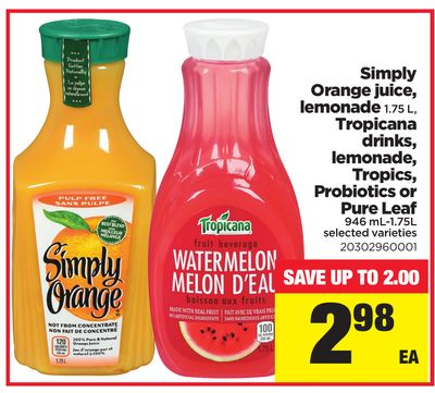Simply Orange Juice - Lemonade - 1.75 L - Tropicana Drinks - Lemonade - Tropics - Probiotics Or Pure Leaf - 946 Ml-1.75l