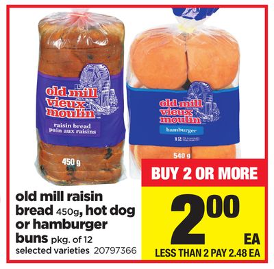 Old Mill Raisin Bread - 450g - Hot Dog or Hamburger - Buns Pkg of 12