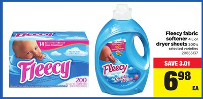 Fleecy Fabric Softener - 4 L or Dryer Sheets - 200's