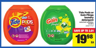Tide PODS or Gain Flings Laundry Detergent - 61/81's