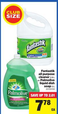 Fantastik All Purpose Cleaner - 3.8 L or Palmolive Liquid Dish Soap - 5 L