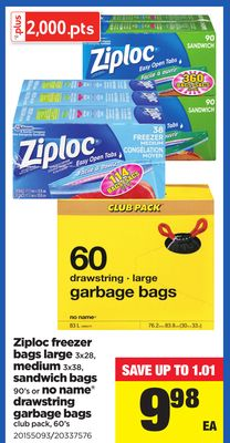 Ziploc Freezer Bags Large - 3x28 - Medium - 3x38 - Sandwich Bags - 90's or No Name Drawstring Garbage Bags Club Pack - 60's
