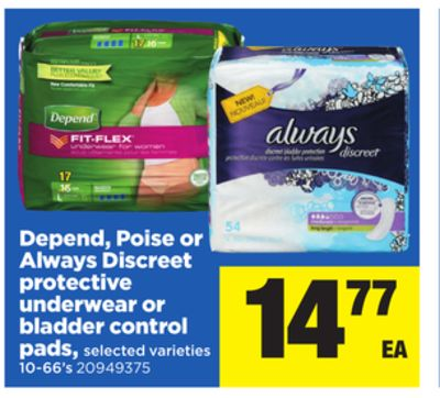 Depend - Poise Or Always Discreet Protective Underwear Or Bladder Control Pads - 10-66's