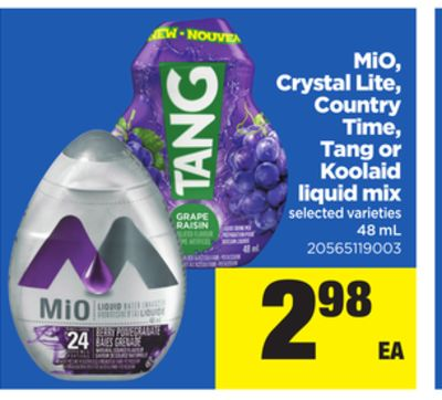 Mio - Crystal Lite - Country Time - Tang or Koolaid Liquid Mix - 48 mL