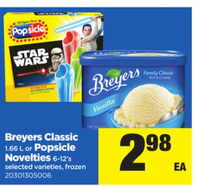 Breyers Classic - 1.66 L Or Popsicle Novelties - 6-12's