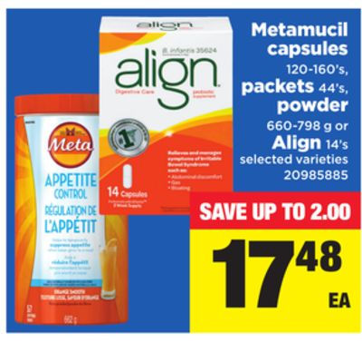 Metamucil Capsules - 120-160's - Packets 44's - Powder 660-798 g or Align - 14's