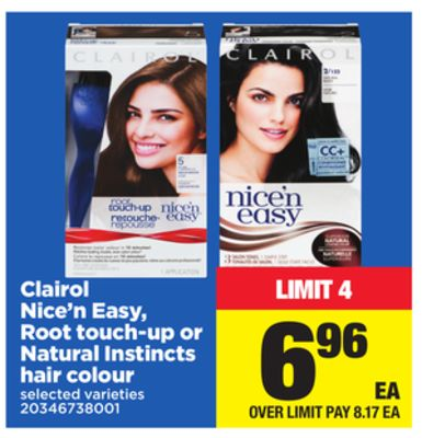 Clairol Hair Color Natural Instincts/NiceN Easy/Root Touch Up #6A/6G/7/8/8A/8G/9 See more like this. Clairol Nice 'n Easy Root Touch-Up Permanent Hair Color 6RR Intense Red (2 Pack) Clairol Root Touch-Up Permanent Match Light Auburn / Reddish Brown Shades [6R] See more like this.