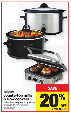 Select Countertop Grills & Slow Cookers