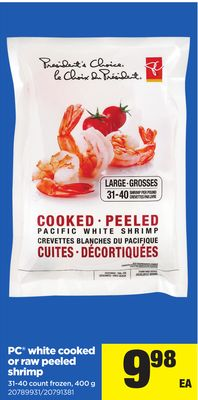 PC White Cooked Or Raw Peeled Shrimp - 400 G 31-40 Count