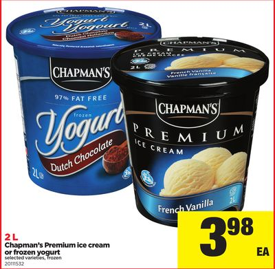 Hapman's Premium Ice Cream Or Frozen Yogurt - 2 L